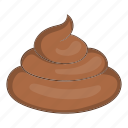 brown, cartoon, dung, excrement, shit, smell, turd icon