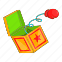 box, boxing, cartoon, glove, hand, spring, surprise icon