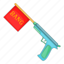 bang, cartoon, flag, gun, joke, pistol, revolver icon