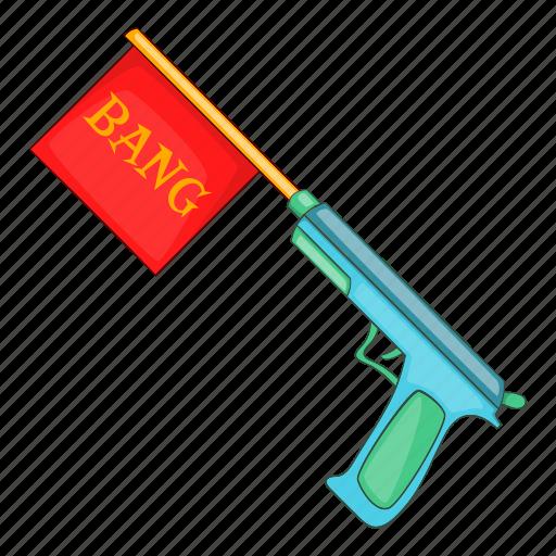 Bang, cartoon, flag, gun, joke, pistol, revolver icon - Download on Iconfinder
