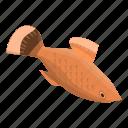 cartoon, isometric, water, fish, logo, gold, hand icon