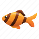 angel, fish, food, gold, striped, water icon
