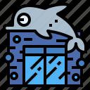 aquarium, building, dolphin, monument