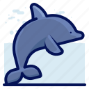 animals, aquatic, dolphin, nautical, ocean, wildlife icon