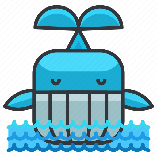 animal, aquatic, marine, nautical, waves, whale icon