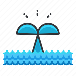 animal, aquatic, marine, nautical, tail, whale icon