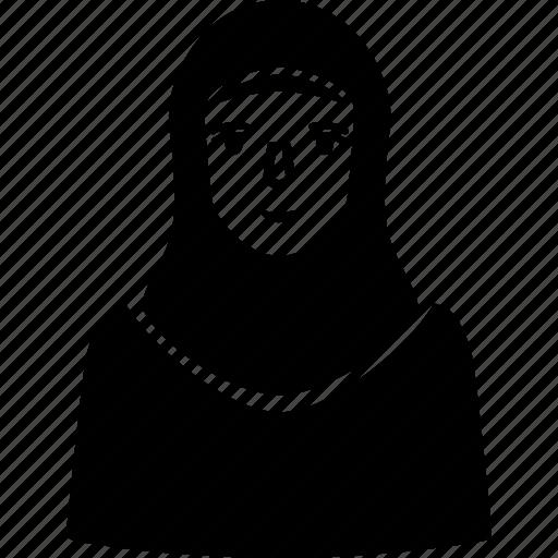 arabian, arabic, female, kofiyah, muslim, woman icon