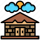 buildings, city, holidays, hut, planks, storage, wooden icon