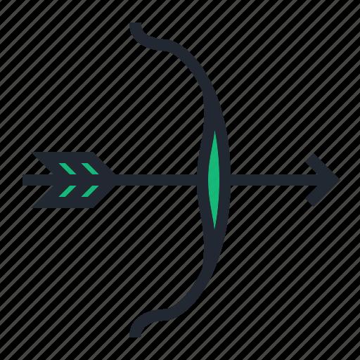 archery, arrow, bow, green, sport icon