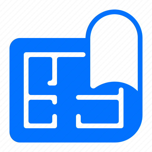 blueprints, home, house, plan icon