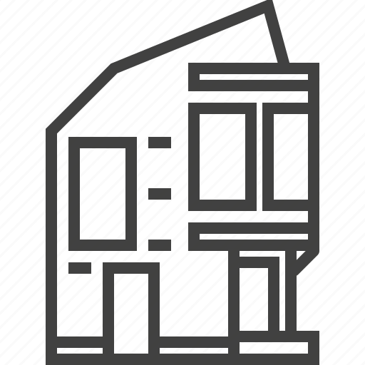 architecture, building, estate, home, house, modern, property icon