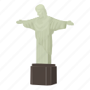 brazil, cartoon, christ, christ statue, janeiro, jesus, rio icon