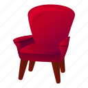 red, retro, house, office, armchair, business