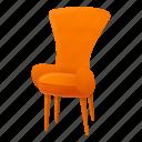 armchair, fashion, house, orange, retro, vintage