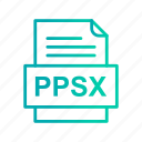 document, file, file type, format, ppsx icon