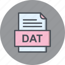 dat, document, file, file type, format icon