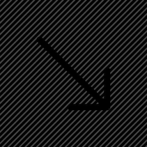 arrow, arrows, bottom, direction, navigation, right icon