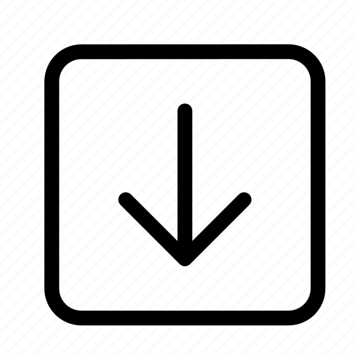 arrow, arrows, direction, down, navigation, square icon