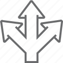 arrow, big, three, ways icon