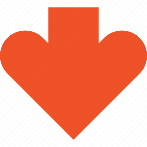 arrow, direction, down, heart, love, pointer icon