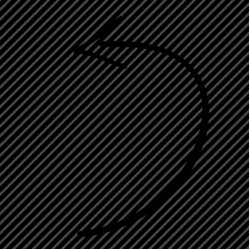 arrow, arrow left, hold, left, line, nope, turn left icon