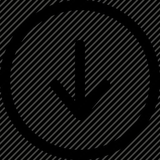arrow, direction, down, indicator, interface, navigation, web icon