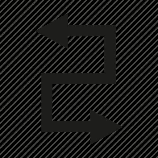 arrow, direction, sign, way, zigzag icon