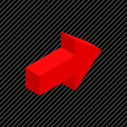 arrow, cursor, direction, isometric, next, red, shape icon