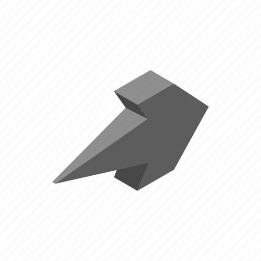 arrow, cursor, direction, grey, isometric, next, shape icon