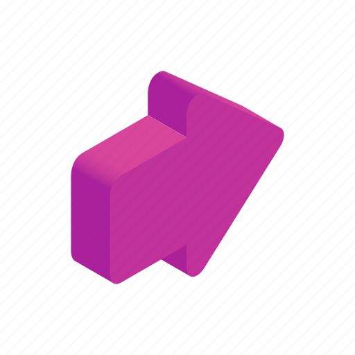 arrow, cursor, direction, isometric, next, pink, shape icon