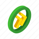 arrow, audio, circle, isometric, music, rewind, yellow icon