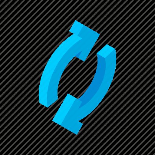 arrow, circular, isometric, refresh, reload, repeat, rotation icon