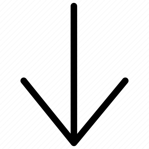 arrow, decrease, descend, down, download, line, lower icon