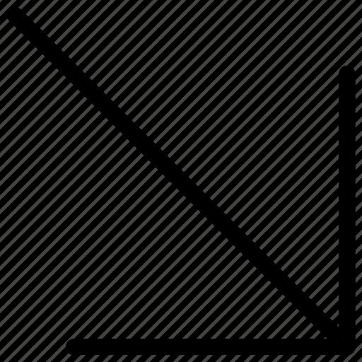arrow, down, line, right icon