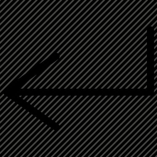 arrow, course, enter, guide, indicator, left, line icon