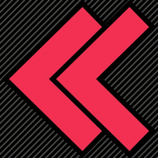 arrow, direction, double, left, point icon