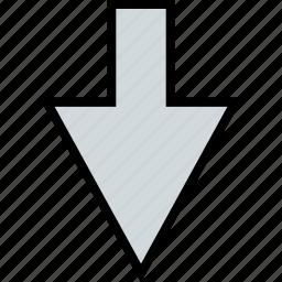 arrow, direction, down, point, sleek icon