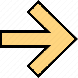 arrow, direction, point, right, sleek icon