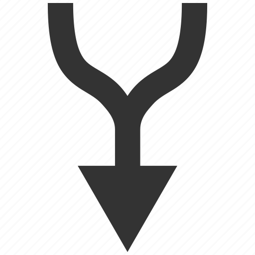 combine, connect, connection, down, join, merge arrow, put together icon