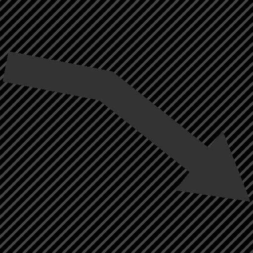 arrow, crisis, down, fail trend, graph, negative, recession icon
