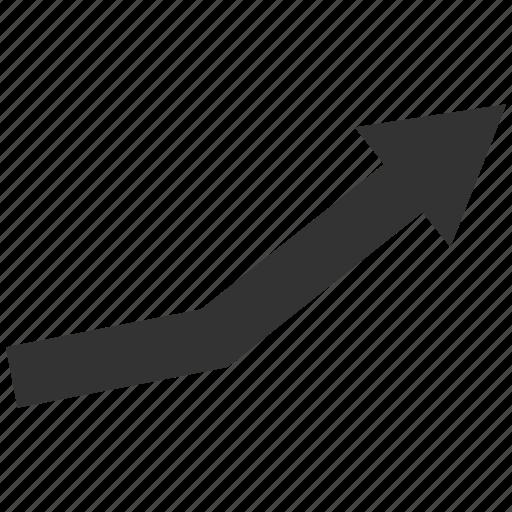 arrow, chart, graph, growth trend, positive, statistics, success icon