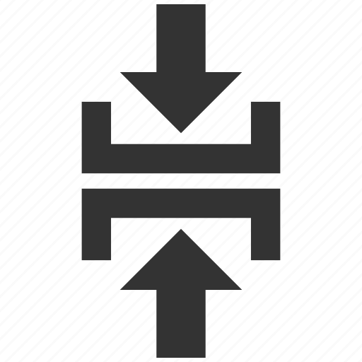 arrow, contact, direction, merge, press, pressure, vertical icon