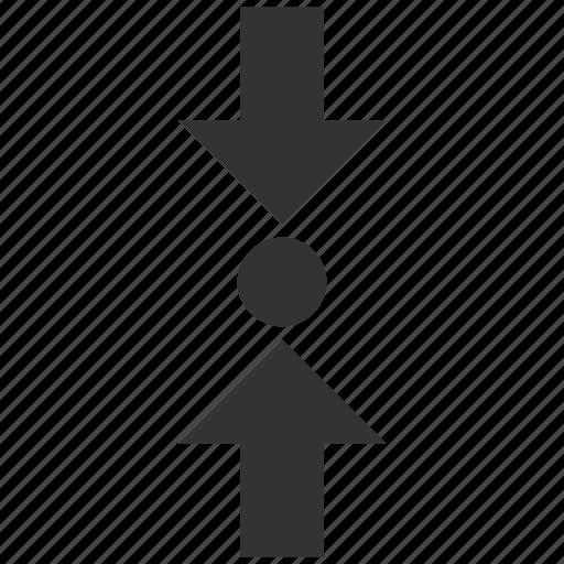 arrow, compress, force, press, pressure, shrink, vertical icon