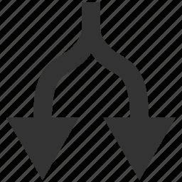 arrows, connection, disconnect, divide, down, separate, split icon