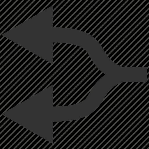 connection, disconnect, divide, left, navigation, separate, split arrows icon