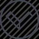 arrow, down, exit, navigation, point, ui, ux icon