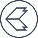 arrow, direction, left, point, pointing, thick icon