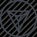 arrow, down, navigation, point, triangle, ui, ux icon