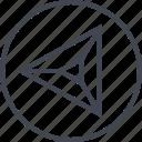 arrow, left, navigation, point, triangle, ui, ux icon
