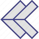 arrow, arrows, double, left icon